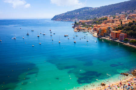 Aerial view of Villefranche-sur-Mer, Cote d Azur, French Riviera, France.
