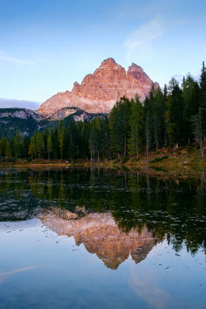 Sunset landscapes in Lake Antorno (Lago di Antorno), autumn mountain landscapes in Dolomites, Italy.