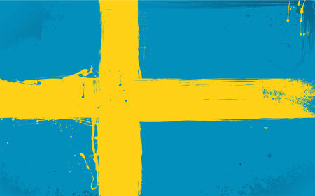 daubed: Swedish flag daubed with paint in the style of grunge Illustration
