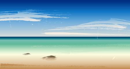 eden: Sommer am Strand, Meer Illustration