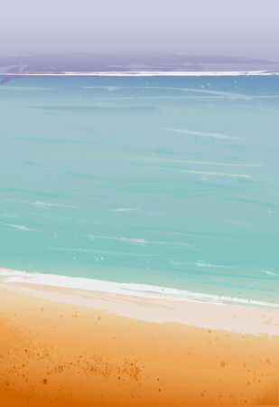 untouched: Summertime at the beach, sea Illustration
