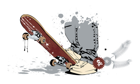 skateboard with his feet in sneakers and jeans Vector