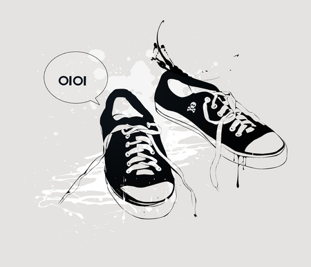 athletic shoes sneakers Stock Vector - 6989901