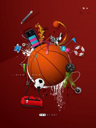 wand graffiti: Ball Basketball an der Wand, Graffiti gemalt