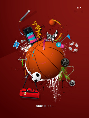 basketball ball painted on the wall, graffiti Vector