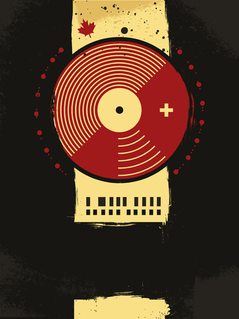 abstract grunge musical poster with vinyl circle Stock Vector - 7103297