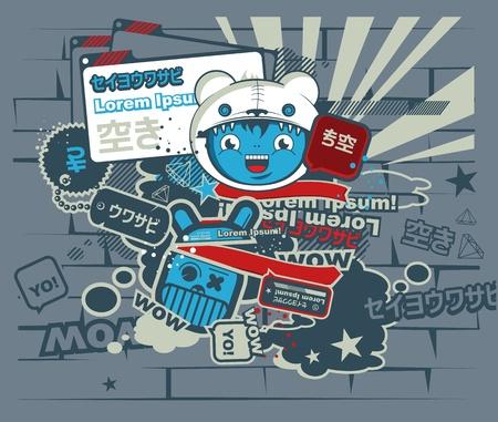 mur platre: Graffiti bleu caract�re dans le style japonais. dessin anim�. Illustration