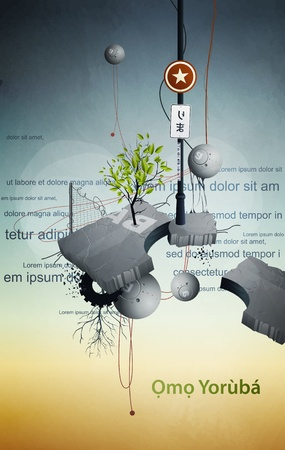 bush mesh: abstract space station satellite with tree and wires Illustration