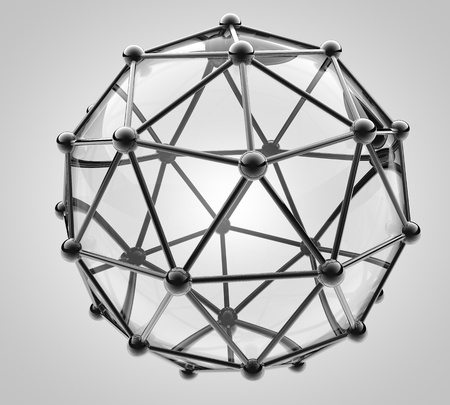 scientific 3D model of the molecule, an atom of metal and glass