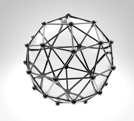 нано: научно 3D модель молекулы, атом металла и стекла Фото со стока
