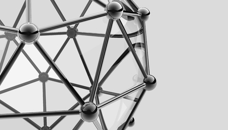 hadron: scientific 3D model of the molecule, an atom of metal and glass
