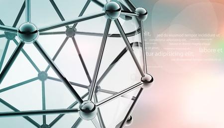 нано: научно 3D модель молекулы атом металла и стекла