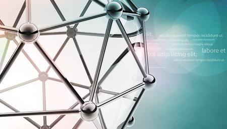 modelo científico 3D de la molécula un átomo de metal y vidrio