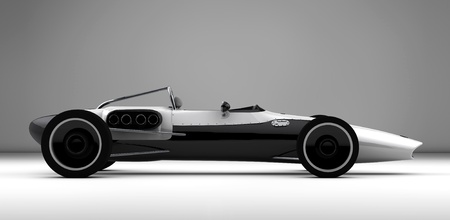 glass fiber: racing sports car concept in retro style