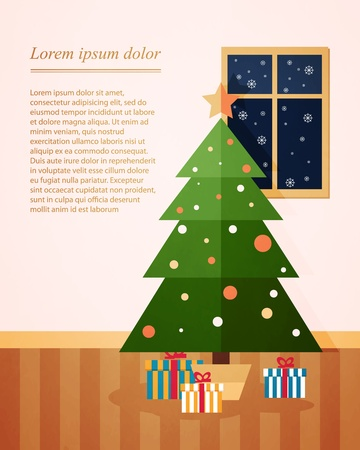 Christmas fir with presents underneath. holiday home Vector