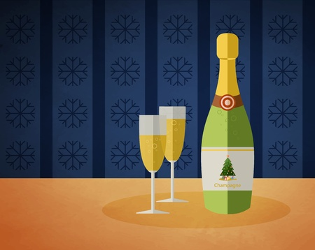 New Years champagne bottle and two glasses with a drink Vector