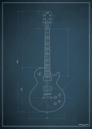 rock guitar: blueprint electric guitar with the dimensions on paper Illustration