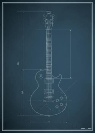 diameter: modello di chitarra elettrica con le dimensioni su carta