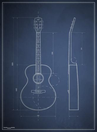 gitarre: Blaupause Zeichnung sechs akustische Gitarre