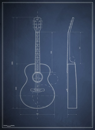 rock guitar: blueprint drawing six-acoustic guitar Illustration