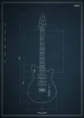 fingerboard: blueprint electric guitar with the dimensions on paper Illustration
