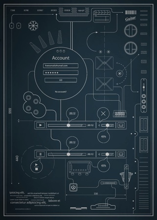 blueprint infographics drawing a schematic abstraction Vector