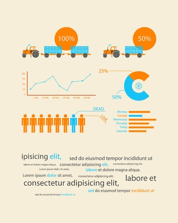 tractor sign: infographics as a business record development of the company Illustration