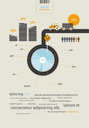 road: infographics circuit supplies load on the tractor Illustration