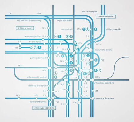 route map: abstract infographics subway transportation plan
