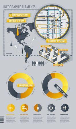 staaf diagram: Infographic Elementen met wereldkaart en een kaart van de metro Stock Illustratie