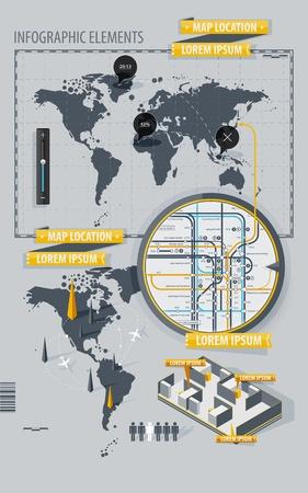estación del metro: Elementos de infograf�a con mapa mundial y un mapa del metro Vectores
