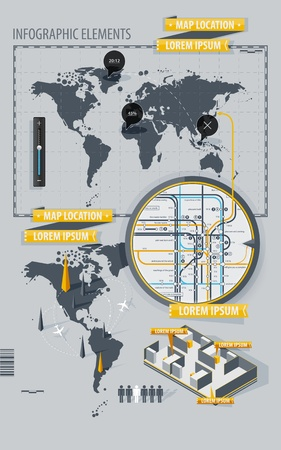 Infographic Elements with world map and a map of the subway Stock Vector - 10802014