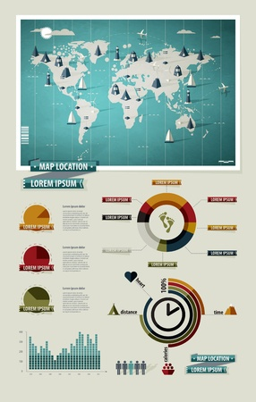 navigation map: Set elements of infographics. World Map and Information Graphics