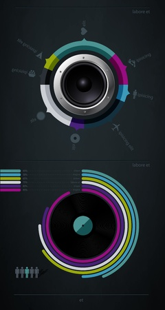 speakers: infographic music elements with vinyl and speaker