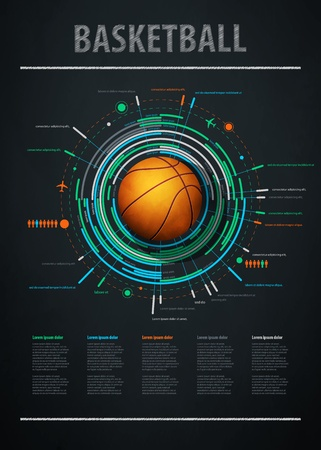infographics element with sports basketball Ball Illustration