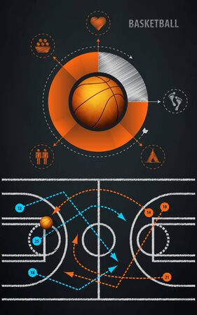 ballon basketball: �l�ment infographie avec le sport de basket-ball balle