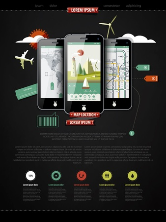mark up a page with three mobile phones  Illustration