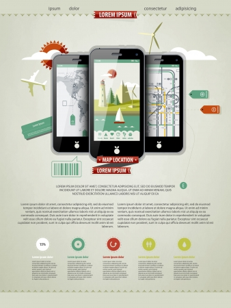 mobile: mark up a page with three mobile phones  Illustration