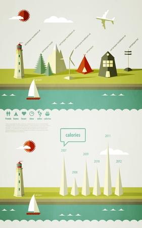 éléments infographies avec un phare sur le paysage