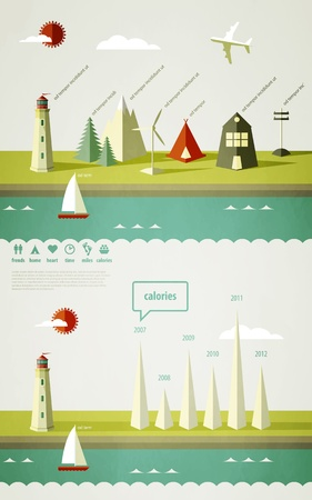 energy management: infographics elements with a lighthouse on the landscape  Illustration
