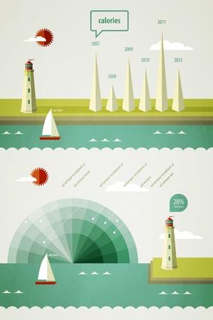 plane table: infograf�a elementos con un faro en el paisaje