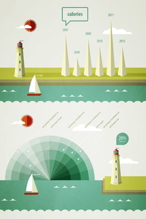 Lighthouse: infographics elements with a lighthouse on the landscape  Illustration