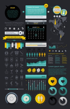 pie diagrams: Elements of Infographics with buttons