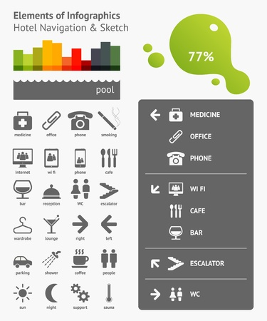 Elements of Infographics with buttons and menus Stock Vector - 11837007
