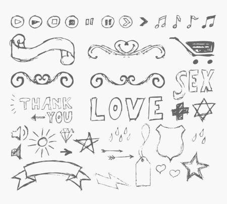vector set grunge graffiti design elements  Vector