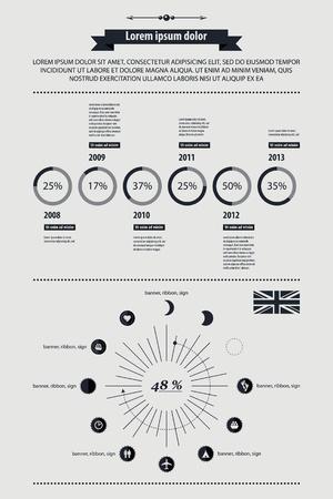 visualize: Elementi di Infografica con pulsanti e menu