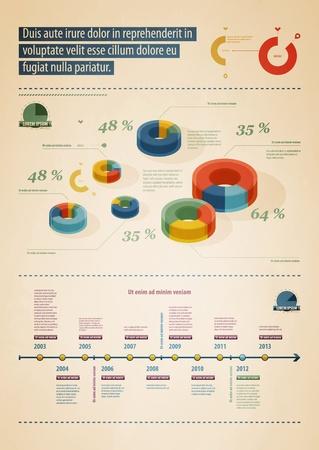 graficas de pastel: Elementos de Infografía con botones y menús Vectores