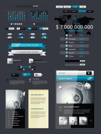 information management: Elements of Infographics with buttons and menus
