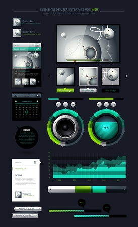 navigation bar: Elements of Infographics with buttons and menus