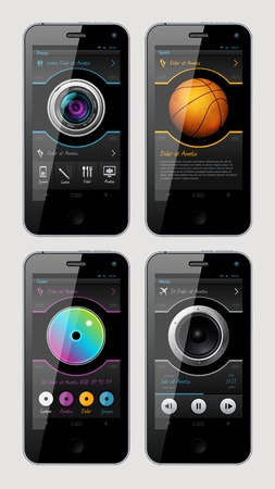 sports application: Simple vector template interface for phone